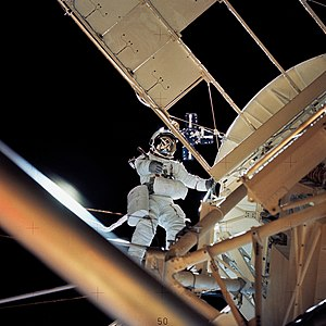 Hubble Space Telescope - Astronaut Owen Garriott works next to Skylab's manned solar space observatory, 1973