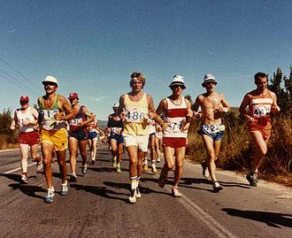 Athens Classic Marathon - Runners competing in the 1980 Athens Marathon, won by Jean-Paul Didim