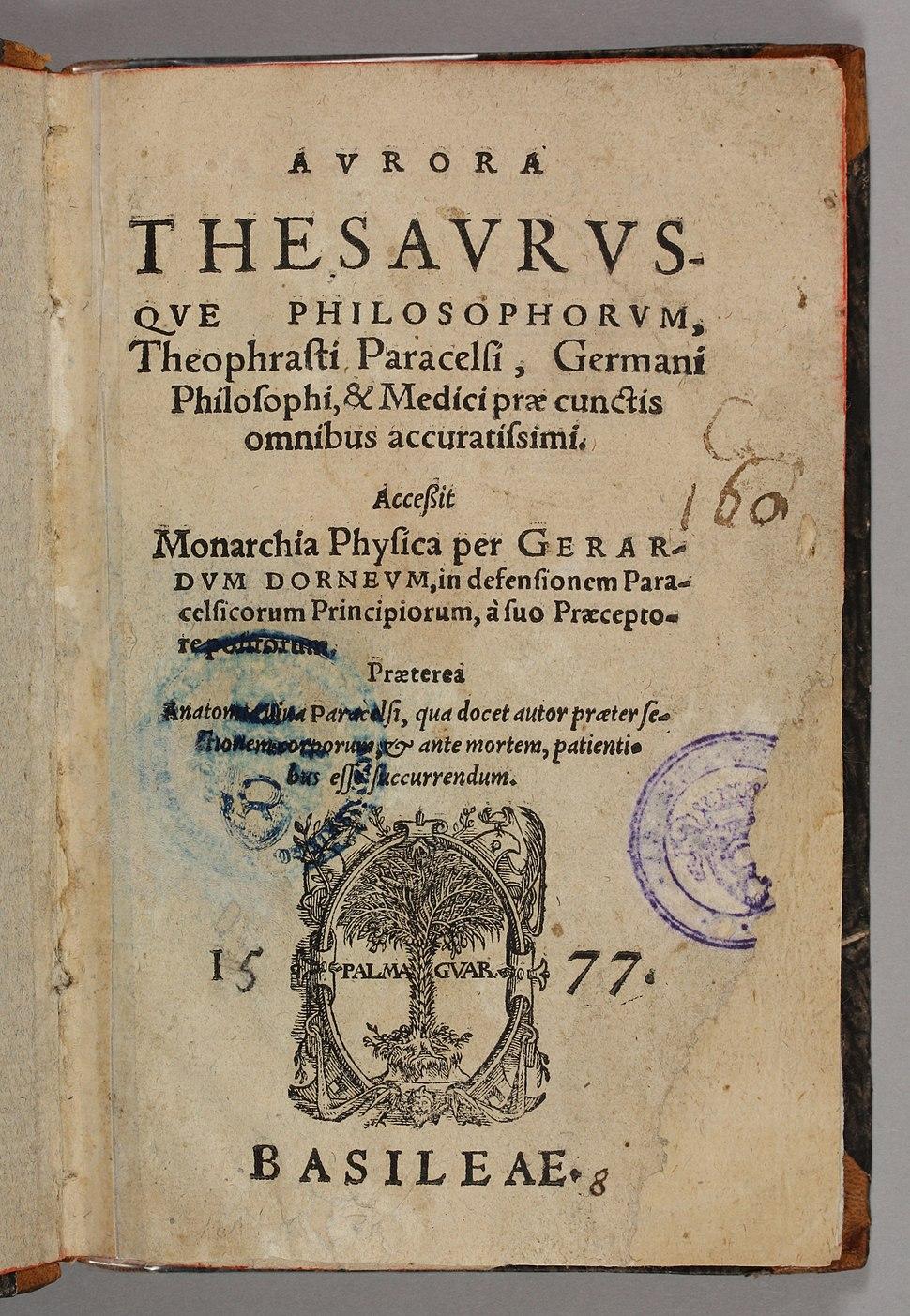 Aurora thesaurusque philosophorum 1577 title page