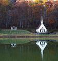 Autumn rippling waters church reflection - West Virginia - ForestWander.jpg