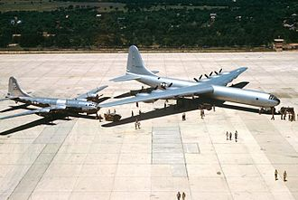 "Naval Air Station Joint Reserve Base Fort Worth - Arrival of the first B-36A at Carswell AFB, ""City of Fort Worth"" (AF Serial No. 44-92015), in June 1948"