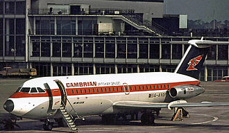 BAC One-Eleven - BAC One-Eleven Series 416 of Cambrian Airways at Manchester Airport in 1970