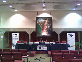 Any Questions? - Any Questions? broadcast set-up in Oxford University Catholic Chaplaincy, 2010.