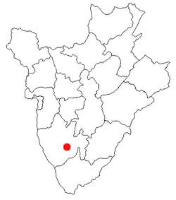 Map of Burundi showing the location of the region