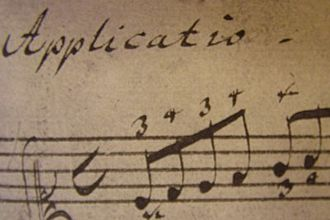 Klavierbüchlein für Wilhelm Friedemann Bach - Close-up of the first bar of Applicatio in C major, BWV 994. Bach's fingering marks are clearly visible.