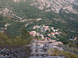 A view of the village from the nearby hillside