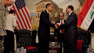Iraq–United States relations - United States President Barack Obama with Iraqi Prime Minister Nouri al-Maliki