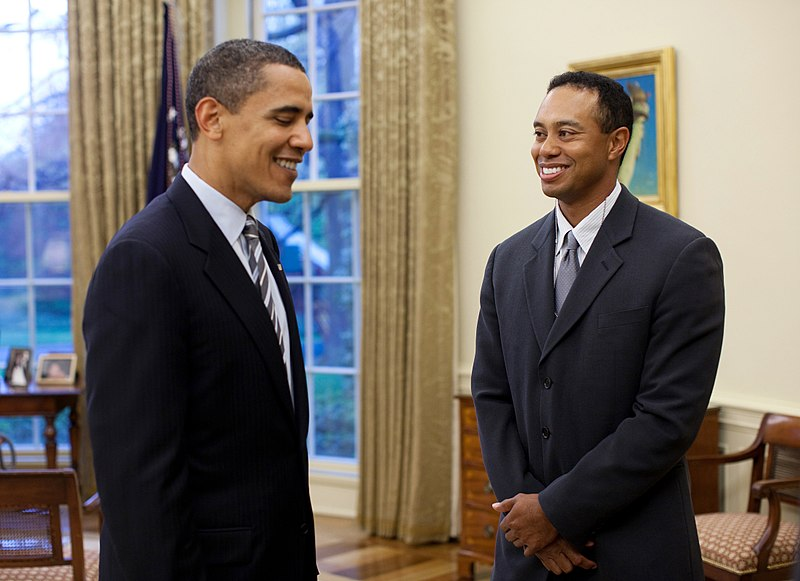 President Barack Obama greets professional golfer Tiger Woods in the Oval Office Monday, April 20, 2009. The 14-time major winner visited the White House Monday following a press conference for the AT&T National, the PGA Tour event Woods hosts at Congressional Country Club June 29-July 5.
