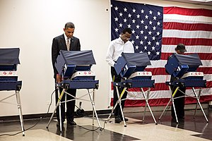 United States presidential election, 2012 - President Obama casts his ballot at the Martin Luther King Jr. Community Center in Chicago.