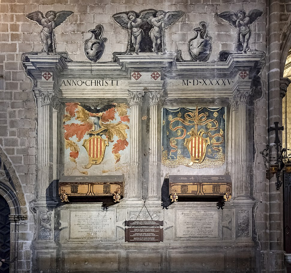 Barcelona Cathedral Interior - Sepulchres of Ramón Berenguer I and Almodis