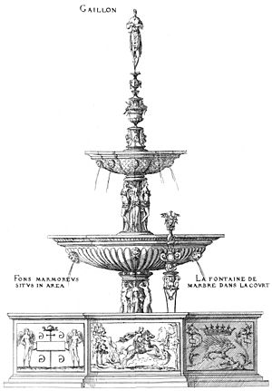 Château de Gaillon - Marble Fountain, engraving by Jacques Androuet du Cerceau, 1576