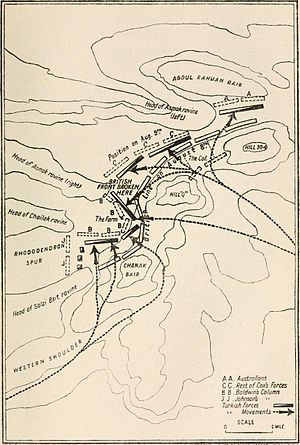 Battle of Sari Bair - Map of the Turkish counter-attack, 9–10 August