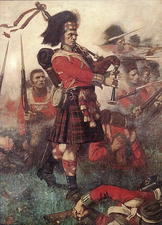 Feather bonnet - Queen's Own Cameron Highlanders' Piper, Kenneth MacKay, urges on the Highland Troops at The Battle of Waterloo in 1815, by William Lockhart Bogle. Note his headgear, the feather bonnet of c. 1800.