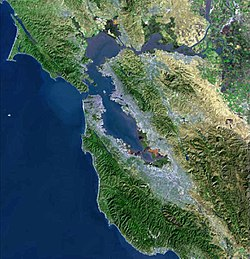 USGS satellite photo of the San Francisco Bay Area taken in 1999. (Click the image for a description of major features.)
