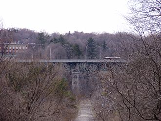 Lawrence Park, Toronto - View of Bayview Avenue bridge north of Lawrence Park. The neighbourhood is situated around gently rolling hills, parks, and the Toronto ravine system.