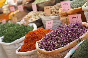 Iranian cuisine - A spice shop at the bazaar of Isfahan.