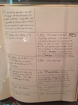 Beauty and the Beast (1946 film) - Page of the original scenario on display in the Jean Cocteau House in Milly-la-Foret, France
