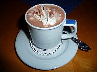 Hot chocolate Heated beverage of chocolate in milk or water