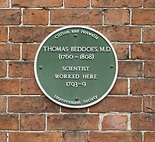 Plaque: Thomas Beddoes MD (1760–1808). Scientist. Worked here 1793–1799. Clifton and Hotwells Improvement Society