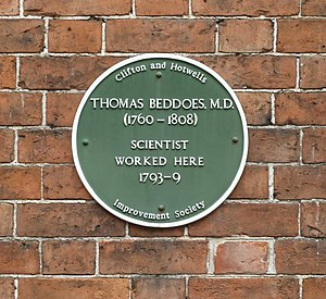 Thomas Beddoes - Image: Beddoes plaque, Hope Square, Bristol