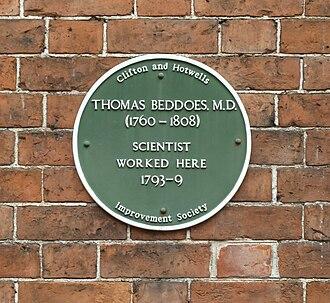 Thomas Beddoes - Image: Beddoes plaque, Hope Square, Bristol