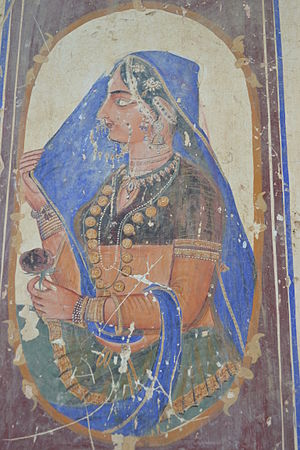 Dupatta - Bedi Mahal-Lady with blue chunni