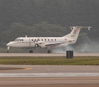 Beechcraft C-12 Huron - A U.S. Air Force Beech C-12J Huron lands at Yokota Air Base, Japan, on 29 June 2007.
