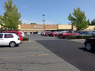 Walmart - The exterior of a multi-entrance Walmart Discount Store in Bellingham, Washington