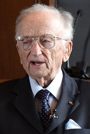 Ben Ferencz - Ferencz standing in the courtroom where the Nuremberg trials were held, 2012