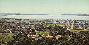 History of the University of California, Berkeley - Postcard of Berkeley campus circa 1900
