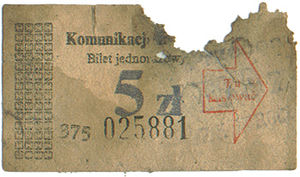 Trams in Poznań - Old ticket (ca. 1986)