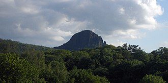 Eger Graben - The Bořeň  near Bílina, an isolated tephrite-basanite erosion stump on the transition from the Bohemian Central Uplands into the North Bohemian Basin