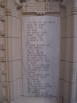 "Peace Tower - ""On Going to the Wars"" by Earle Birney, from the Memorial Chamber in the Peace Tower"