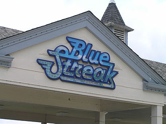Blue Streak (Cedar Point) - Blue Streak logo on station
