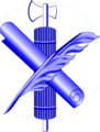 Blue fasces-scroll-quill.png