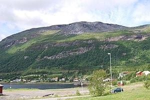 Evenes - Bogen village in the mountainous eastern part of Evenes. Bogen bay is part of Ofotfjord.