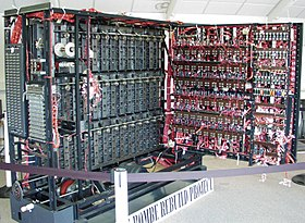 At the rear of the machine, the Bombe required a large amount of complex plugging to connect the drums according to the settings in the menu. This is only a partially-complete Bombe rebuild at the Bletchley Park museum.
