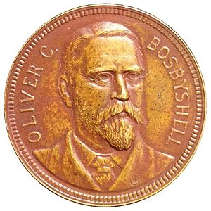Three-dollar piece - Philadelphia Mint Chief Coiner Oliver Bosbyshell was responsible for many unofficial pieces leaving the facility.  Seen on his Mint medal by George T. Morgan.