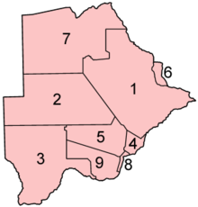 Botswana districts numbered.png