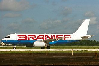 Braniff (1983–1990) - One of the Airbus A320s operated by the airline