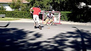 Street hockey in Calgary, Canada.