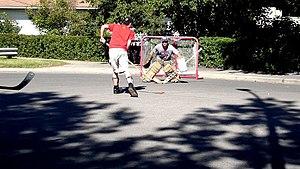 Street hockey in Calgary, Canada.