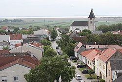Saint Cunigunde of Luxembourg Church. Lake Neusiedl in the background