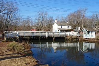 Blackwells Mills, New Jersey - Bridge tender's house and bridge leading to Blackwells Mills