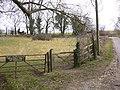 Bridleway leaves lane near Stapleash Farm - geograph.org.uk - 1747648.jpg