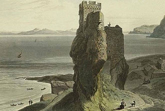 Raasay - Castle Broichin on the Isle of Raasay, an 1819 aquatint by William Daniell depicting Brochel Castle