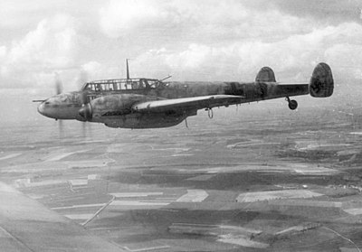 Bf 110 built to shoot down heavy Allied bombers by day, but mostly achieved success as a repurposed night fighter with Lichtenstein radar fitted. Bundesarchiv Bild 101I-377-2801-013, Flugzeug Messerschmitt Me 110.jpg