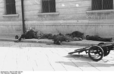 Bodies of uniformed men on a sidewalk