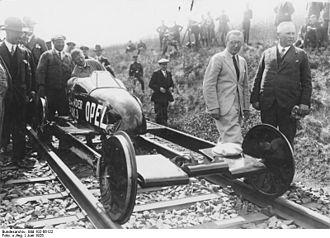 Opel-RAK - Rocket rail vehicle Opel-Sander Rak.3 in June 1928.