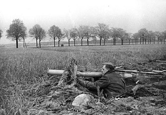 Battle of Berlin - April 1945: a member of the Volkssturm, the German home defence militia, armed with Panzerschreck, outside Berlin.